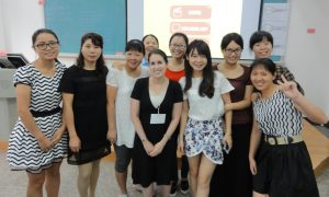 Amy posing with English teachers she trained in Fuzhou, China (2015)