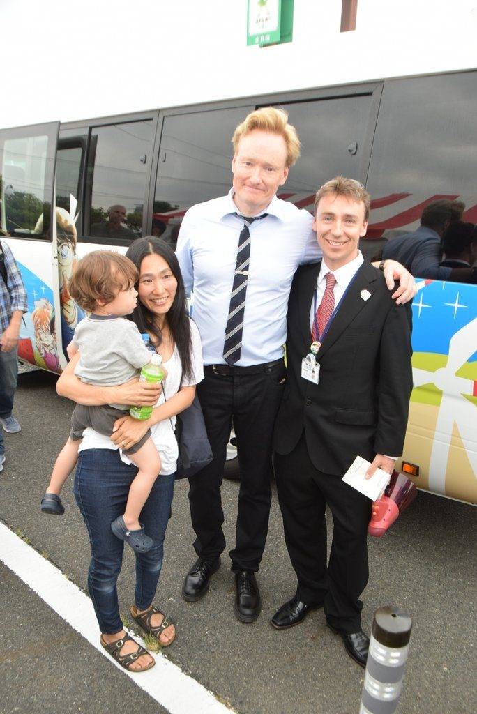 Conan O'Brien with Christopher Hollis and Chris's wife and younger son.